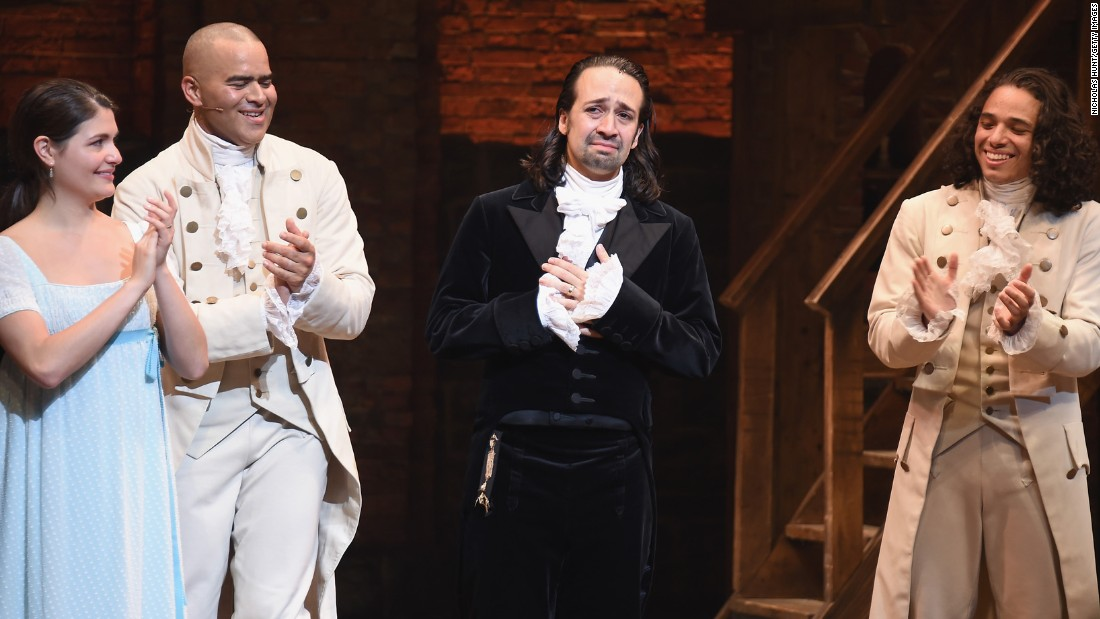 "Lin-Manuel Miranda, second from right, <a href=""http://money.cnn.com/2016/07/09/media/hamilton-lin-manuel-miranda-last-show/"" target=""_blank"">makes his final appearance</a> in the Broadway hit ""Hamilton"" on Saturday, July 9. Miranda also created the hip-hop musical, which has become a critical and cultural phenomenon. The show won 11 awards at this year's Tony Awards."