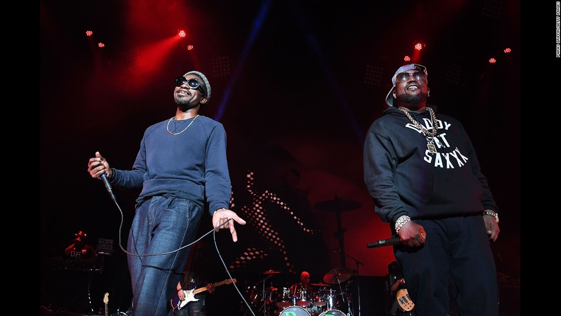 The hip-hop duo OutKast perform in their hometown of Atlanta on Saturday, September 10.