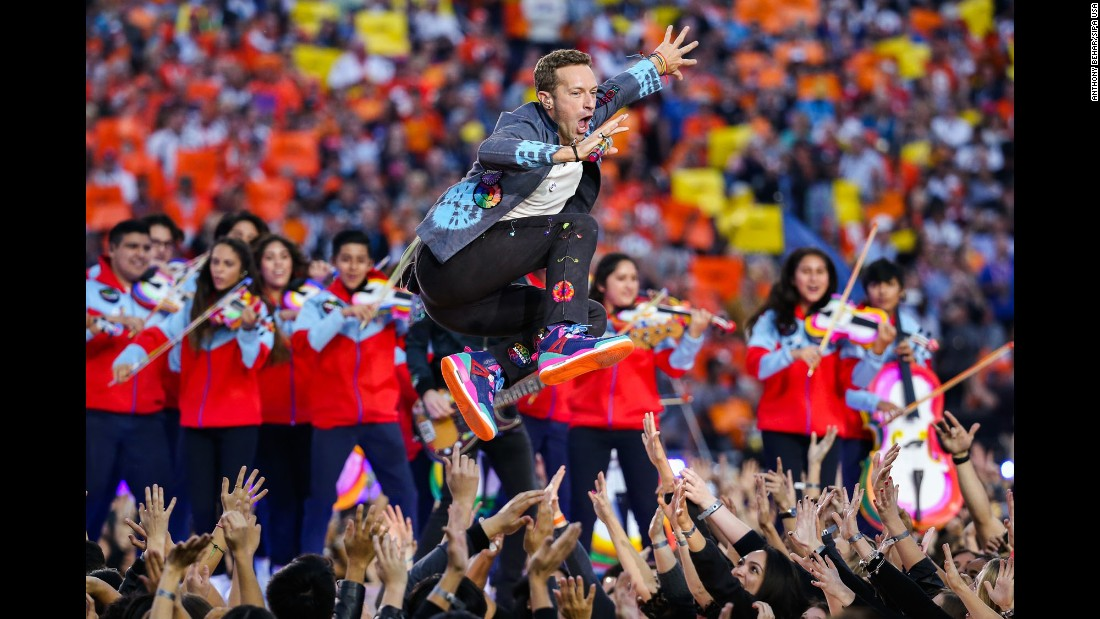 "Coldplay frontman Chris Martin performs during <a href=""http://www.cnn.com/2016/02/07/entertainment/gallery/super-bowl-halftime-2016/index.html"" target=""_blank"">the Super Bowl 50 halftime show</a> on Sunday, February 7."