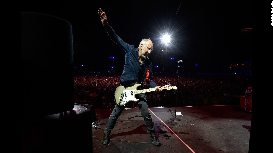 Pete Townshend of The Who performs during a concert in Indio, California, on Sunday, October 16.
