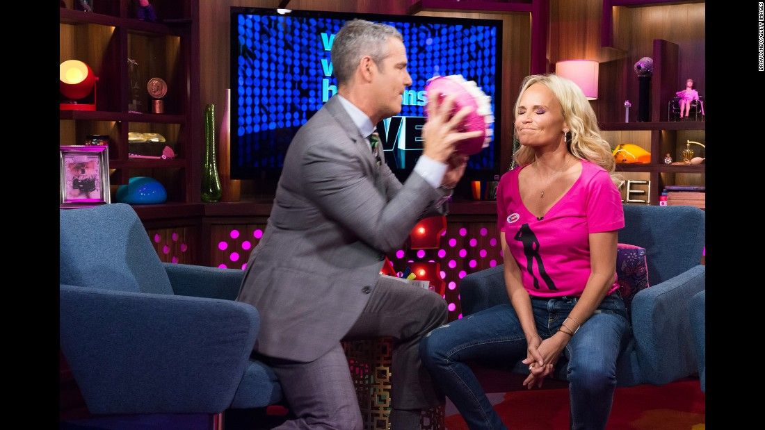 "Actress Kristin Chenoweth takes a pie to the face for breast cancer awareness during Andy Cohen's show ""Watch What Happens Live"" on Tuesday, October 18."