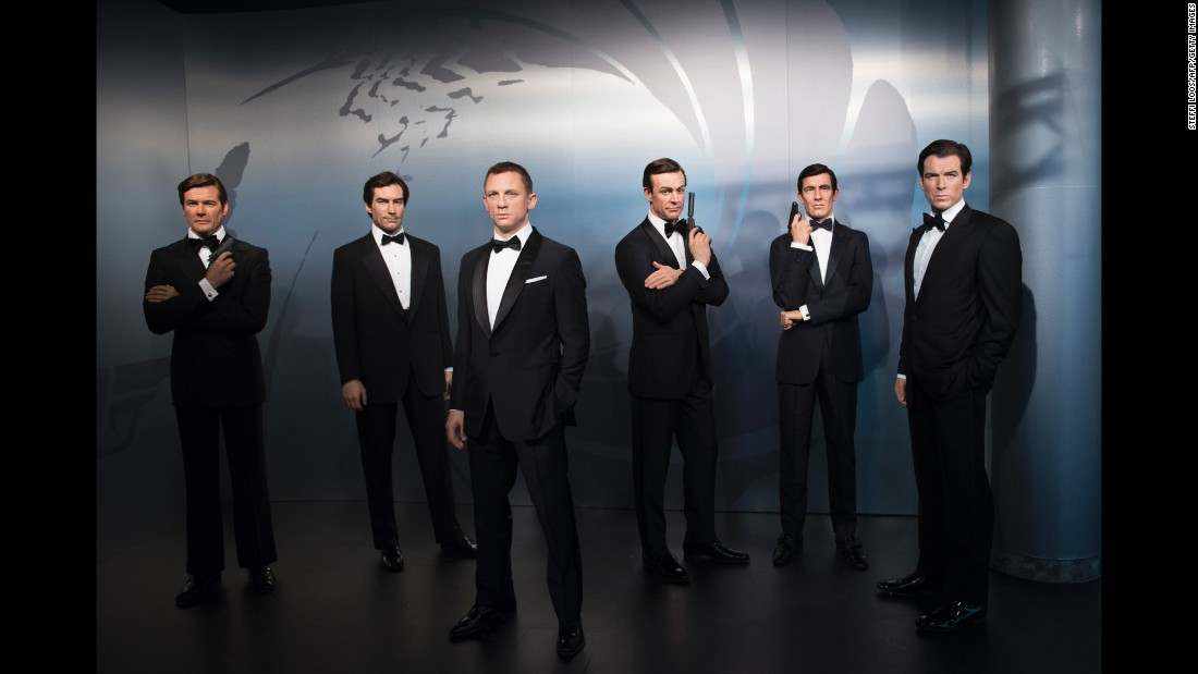 Wax figures of James Bond actors are presented at the Madame Tussauds museum in Berlin on Tuesday, October 4. From left to right are Roger Moore, Timothy Dalton, Daniel Craig, Sean Connery, George Lazenby and Pierce Brosnan.