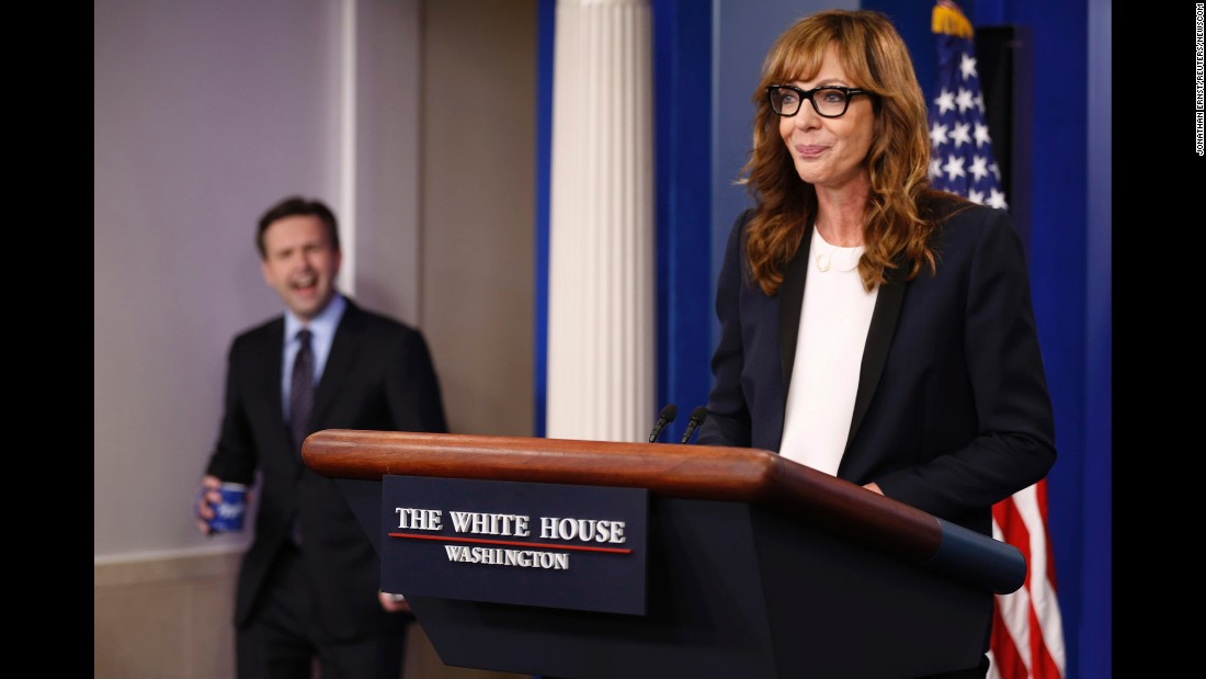 "White House Press Secretary Josh Earnest feigns shock as actress Allison Janney, who played the role of White House Press Secretary C.J. Cregg on the television drama ""The West Wing,"" makes <a href=""http://www.cnn.com/2016/04/29/politics/allison-janney-cj-cregg-white-house/"" target=""_blank"">a surprise appearance</a> in Washington on Friday, April 29. Janney stopped by the White House to take part in a Champions of Change ceremony where 10 individuals were awarded for their efforts to prevent substance abuse."