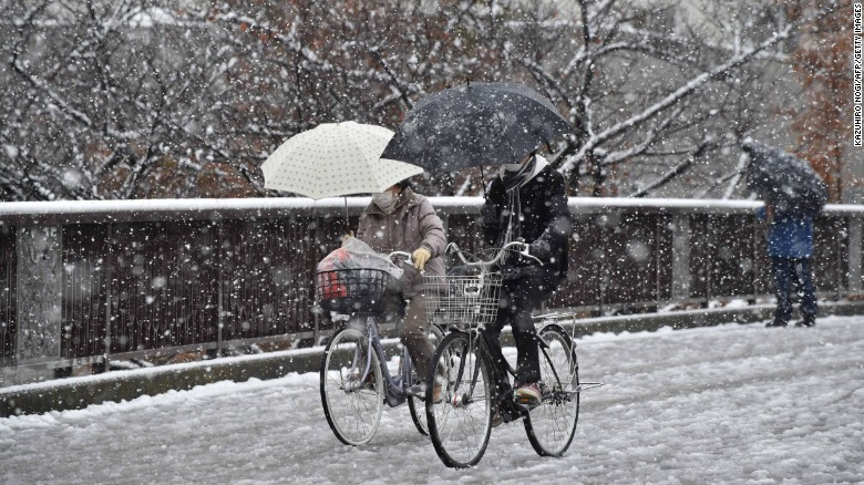 The country's weather agency warned about slippery pavements and roads