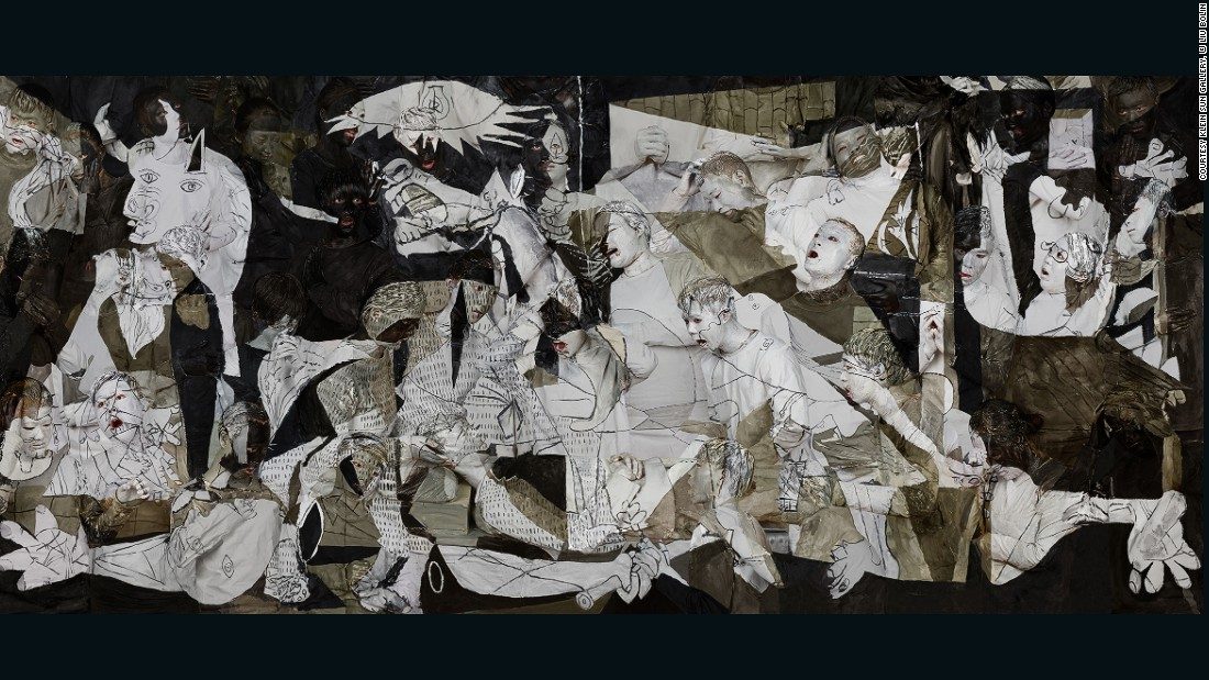 "Art Hacker is currently on display at Klein Sun gallery in New York. Here, Liu recreated Picasso's 1937 ""Guernica."""