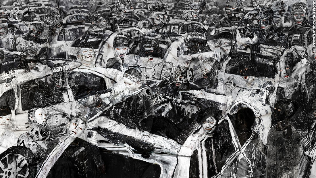 Liu often weaves social and political themes into his work. This image shows the traumatic impact of a factory explosion in Tianjin which killed 170 people in 2015.