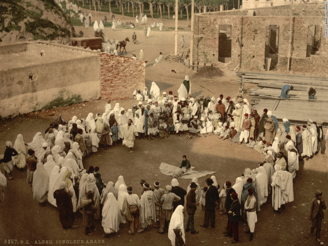 Arab juggler, Algiers. The era of the photochrom in Europe was over by the end of the First World War, as technology and commerce were both heavily disrupted. Cameras had advanced and public ownership had increased. Meanwhile some North African nations were beginning their journeys away from colonialism toward independence. These photochroms were already relics of a past epoch.