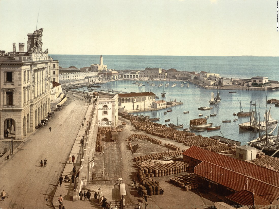 The harbor and admiralty, Algiers, Algeria. The printing process of photochroms was efficient and could produce hundreds of thousands of copies from a single negative. A 7x9 inch photochrom cost approximately 35 cents at the turn of the 20th century.