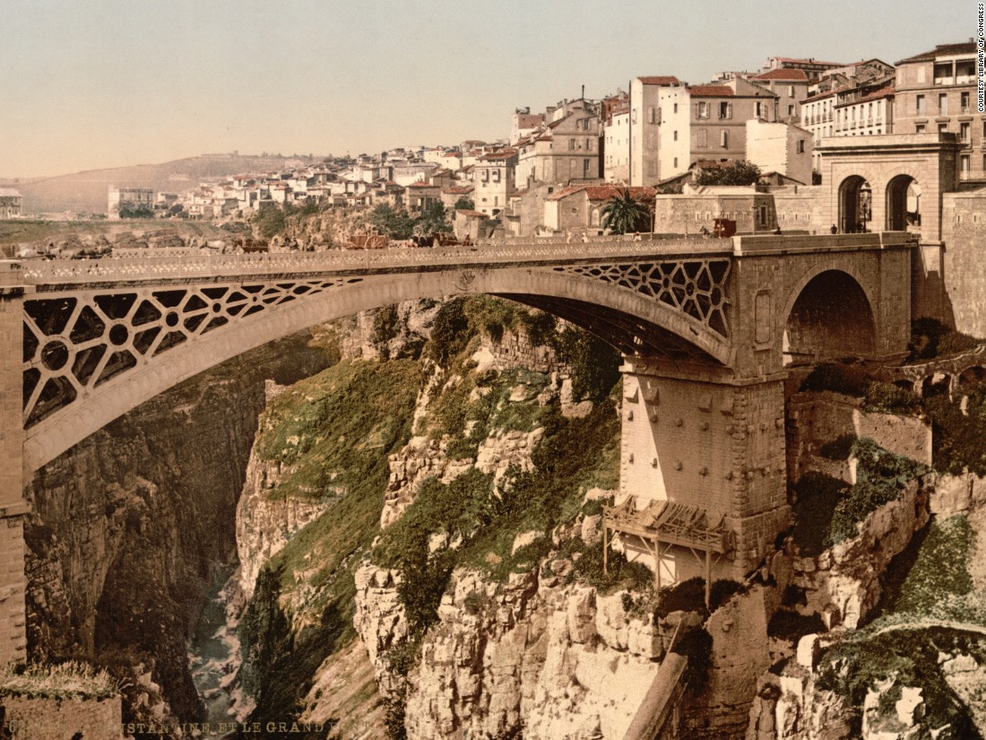 Bridge in Constantine, Algeria. The photochrom process, invented 1890, was soon patented by companies around Europe and the US. It's thought most of the photochroms from this period in North Africa were taken by Europeans, although many authors are unknown today.