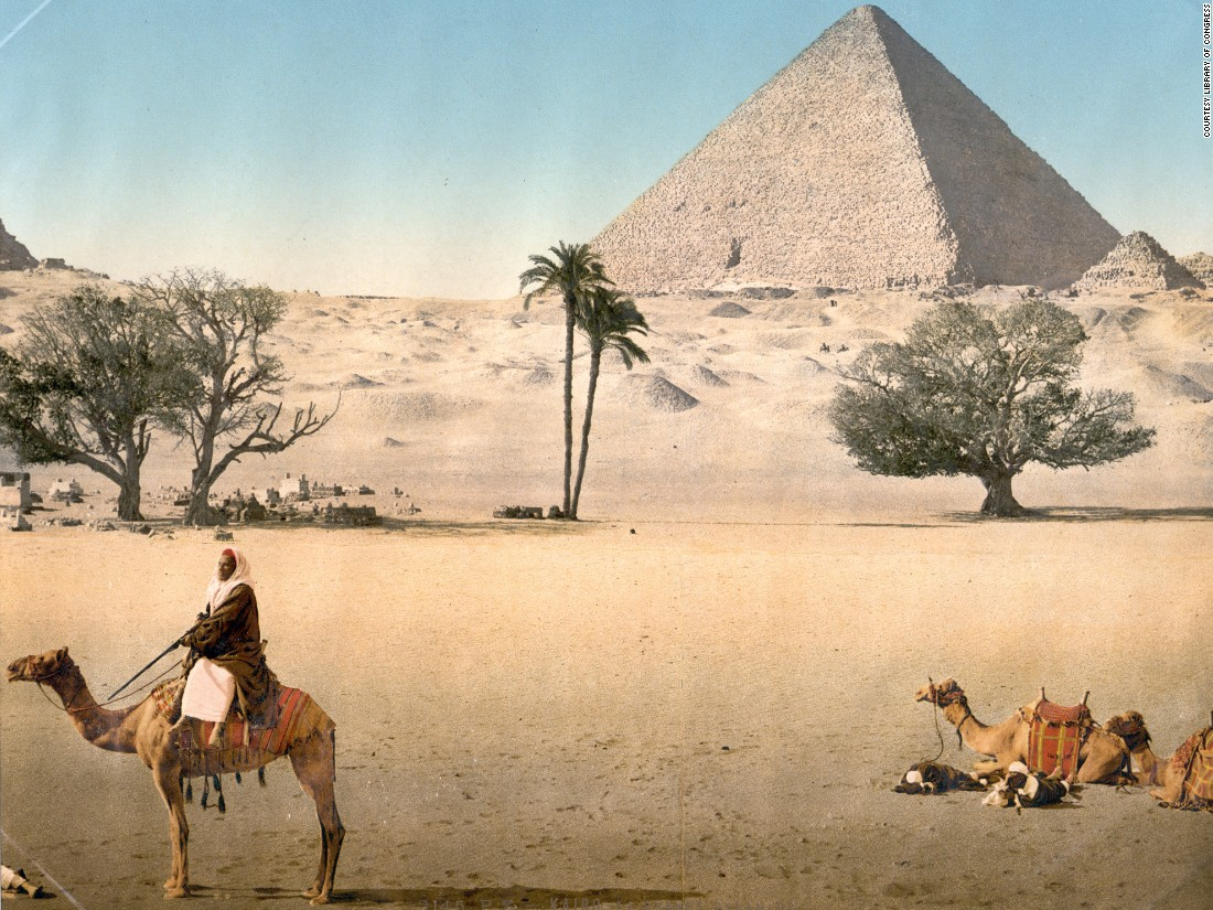 Resting Bedouins at the Grand Pyramid, Cairo, Egypt. Helena Zinkham of the Library of Congress, where these rare photochroms are kept, says the main market for these high quality images was European tourists.