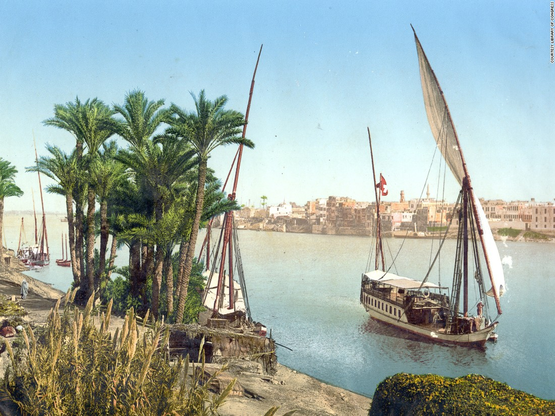 Sailboat on the River Nile, Cairo, Egypt. The era of the photochrom coincided with an era of great expansion within the travel industry. It became easier to cross oceans and tour other continents, and Europeans often visited North Africa to escape the pollution of cities across the Mediterranean Sea.