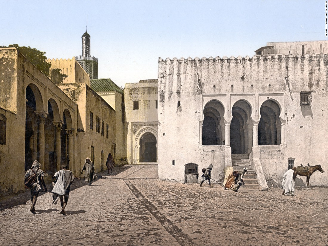 The Palace of Justice, Tangier, Morocco. Although not yet a colony at the time in which this photocrhom was taken, Morocco was nonetheless heavily influenced by Europeans, France and Spain later enforcing a protectorate.