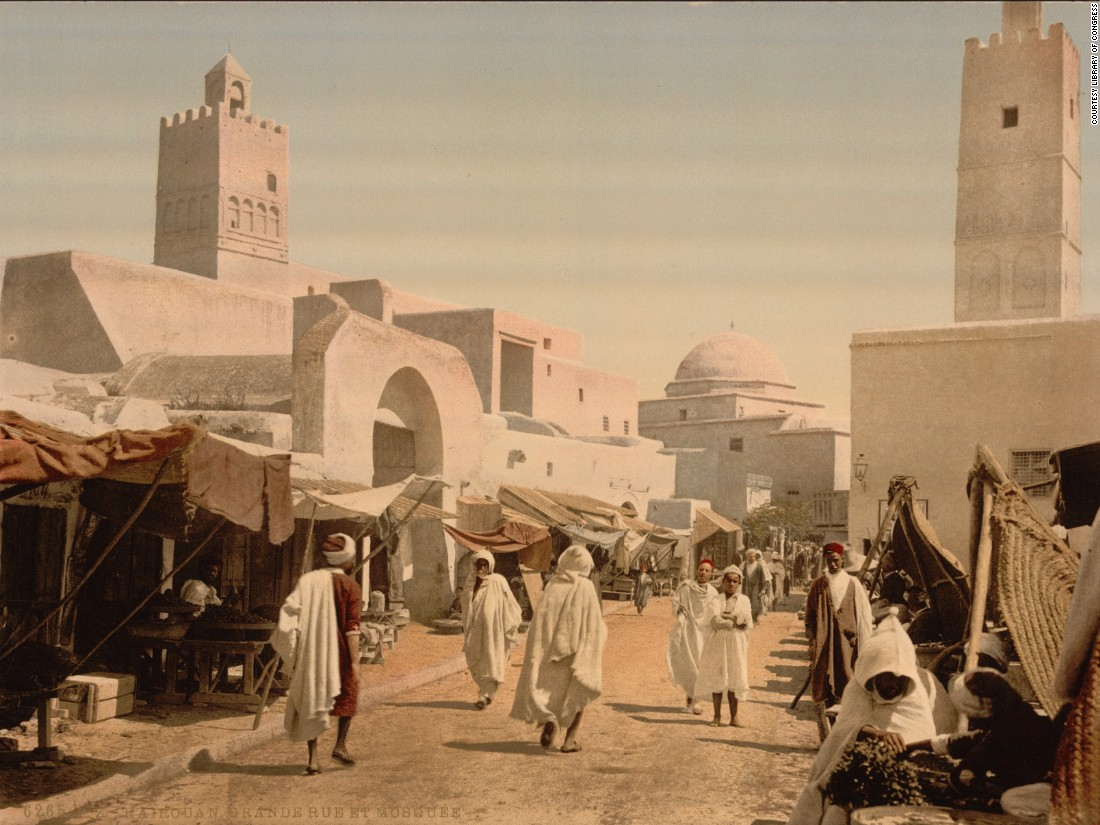 A mosque in, Kairwan, Tunisia. Chopin says that the photochroms show a tale of two cities, with indigenous and colonial classes rarely meeting.