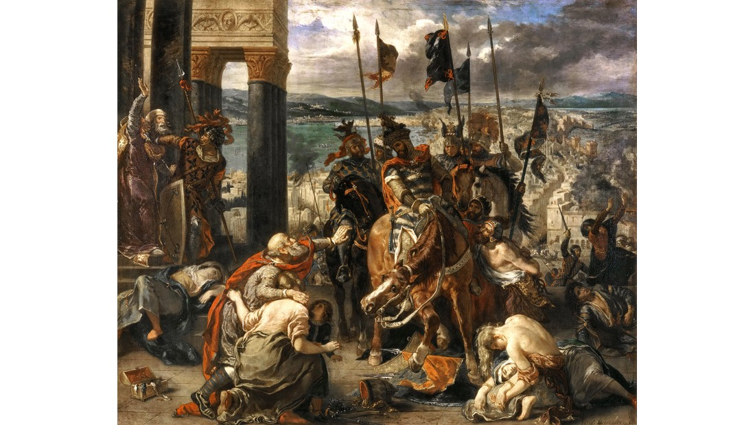 "Huddled before the future Emperor Baldwin IX, three citizens (including a small child) plead for mercy. ""The crusade was primarily a French undertaking, yet (French painter) Delacroiz presents an empathetic view of the Byzantine citizens who have suffered,"" Hodge writes."