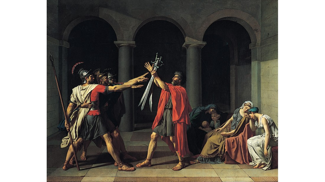 "The neoclassical ""Oath of the Horatii"" depicts three Roman brothers saluting their father, who's holding their swords, before going off to fight rivals from Alba Longa. In their shadow, their mother huddles around her grandchildren. <br /><br />""The older boy cannot refrain from peeping out in awe at the men and their glittering swords -- demonstrating that to lay down one's life for one's country is honorable and something for which all men should be prepared to fight, even from a young age,"" Hodge writes."