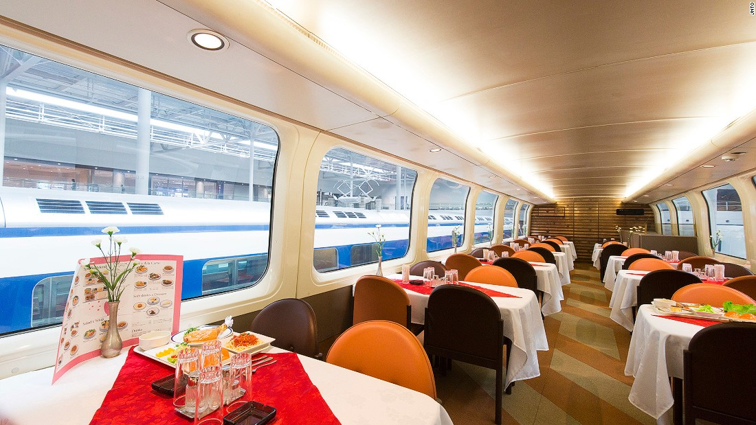 Visitors to the SCMAGLEV and Railway Park can dine in an actual bullet train car.