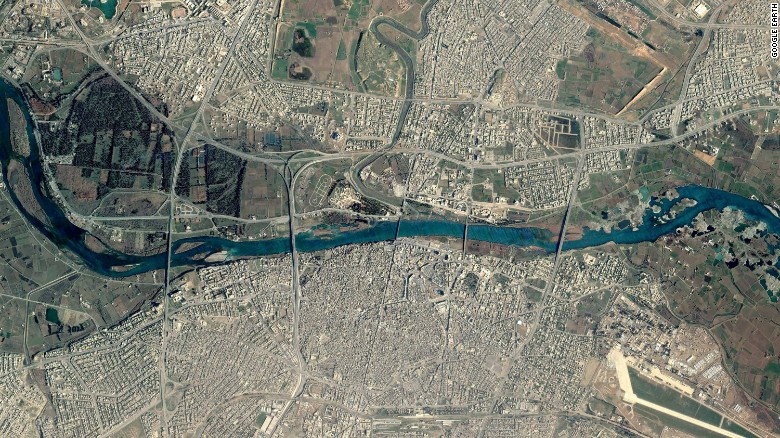 A Google Earth satellite image taken before the operation captures Mosul's five bridges spanning the Tigris River.