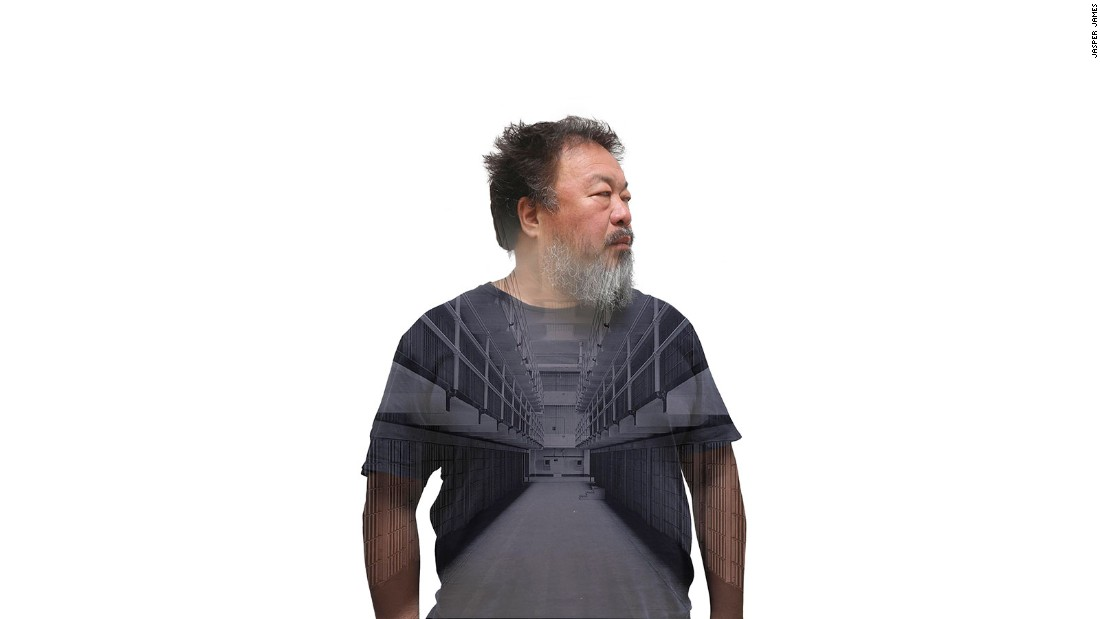 "This image of Ai Wei Wei was commissioned by the ""Smithsonian"" magazine for a story on Ai's exhibition in Alcatraz Prison in the US. ""At the time, the artist could not leave China and was under virtual house arrest,"" explains James. ""So the magazine asked me if I could work on an image that combined Ai Weiwei with Alcatraz Prison."""