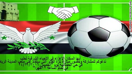 Banners circulated on social media asking fighters from eastern Aleppo to participate in a football match.