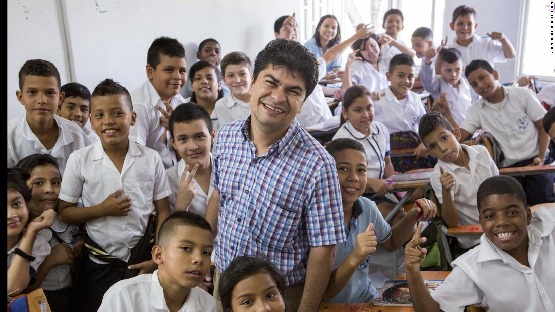 CNN Hero Jeison Aristizábal's nonprofit, ASODISVALLE, offers therapies, educational services and healthy meals for young people in Colombia living with a range of disabilities. The organization's school also welcomes students who are not disabled but want a quality education, such as the class pictured here.
