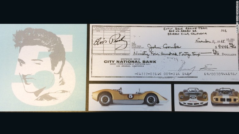 The check that Elvis Presley handed over when he bought the gold 1964 McLaren M1-A