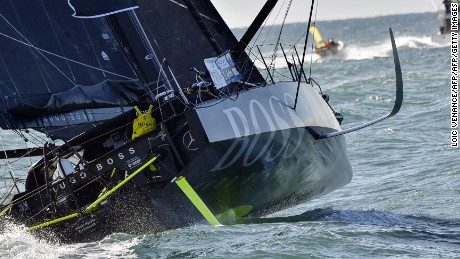 "English skipper Alex Thomson sails onboard his class Imoca monohull ""Hugo Boss"" moments after taking the start of the Vendee Globe around-the-world solo sailing race off the coast of Les Sables-d'Olonne, western France, on November 6, 2016. / AFP / LOIC VENANCE        (Photo credit should read LOIC VENANCE/AFP/Getty Images)"