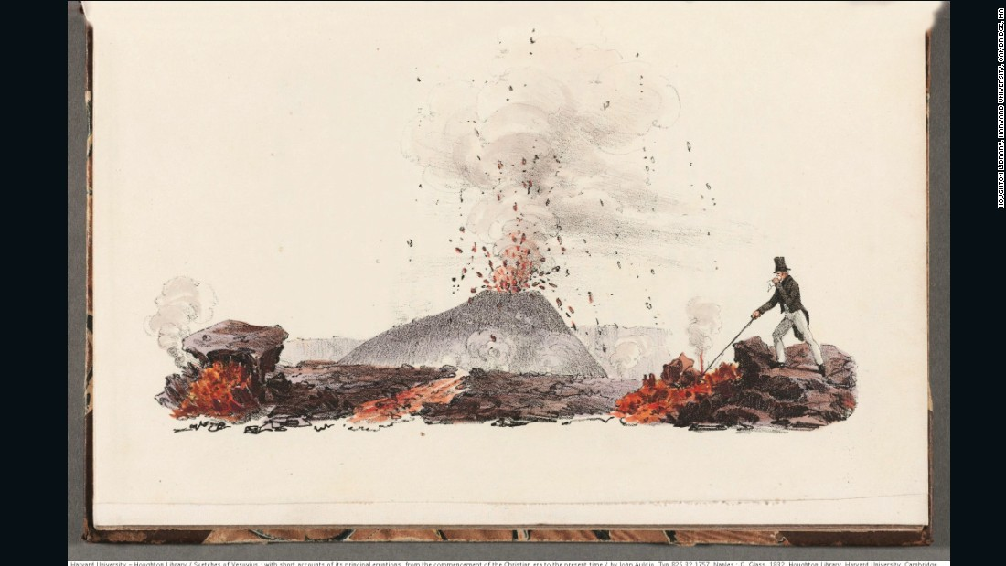 "Canadian-British geologist John Auldjo published his 1831 lithographs of Mount Vesuvius with vivid accounts of his experiences there. ""My own face was scorched, my lips much swollen, and my eyes inflamed; but this was the sole inconvenience I experienced,"" he wrote."