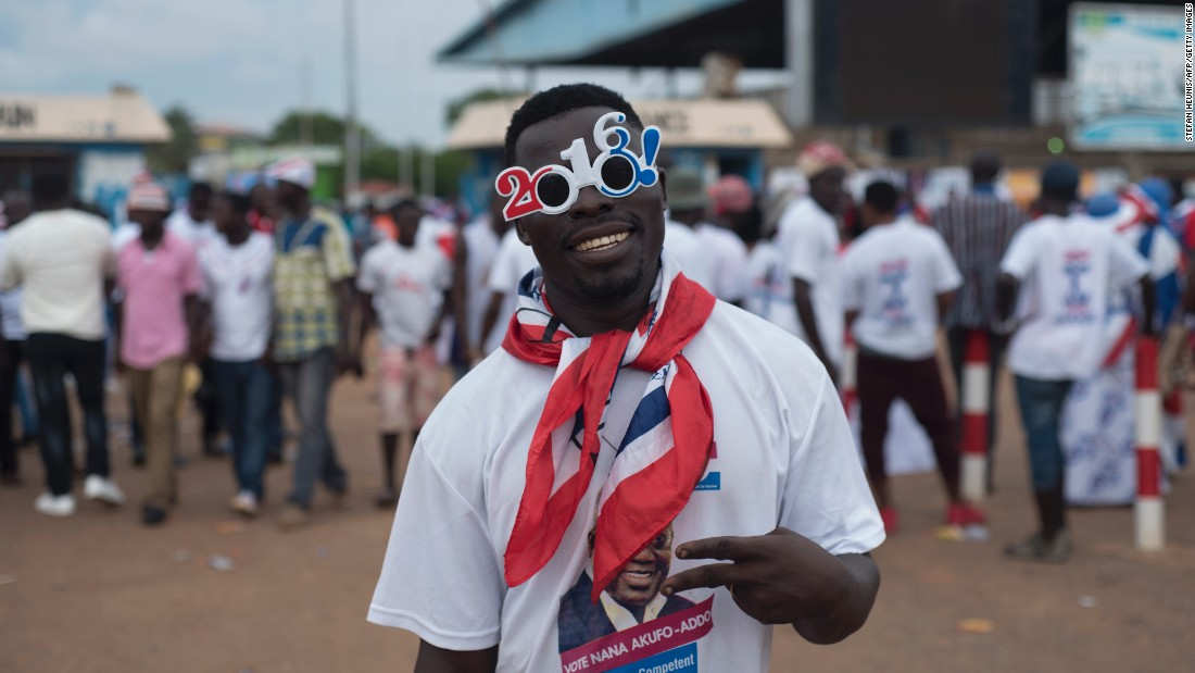 Ghanaians claim their vote choices would be influenced by a variety of policy and campaign issues, including bad roads, government corruption and  national embarrassments. This is according to CDD-Ghana.<br /><br />Pictured: A supporter of Ghana's largest opposition party, New Patriotic Party (NPP), at the party manifesto launch in Accra on October 9, 2016. Photo Stefan Heunis/AFP/Getty Images.