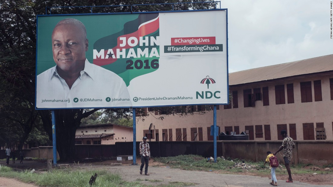President Mahama and Akufo Addo's 2016 campaigns featured specific promises to the regions they visited (such as creation of additional administrative regions and districts), according to CDD-Ghana.<br /> <br />Pictured: President Mahama's campaign billboard in the streets of Accra. Photo Stefan Heunis/AFP/Getty Images.