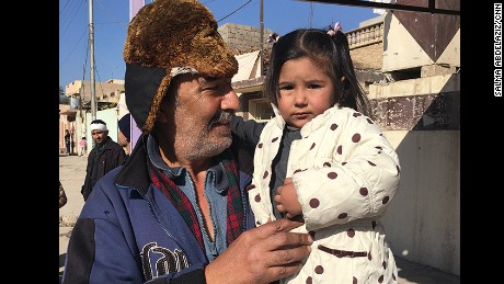 Talal Mustafa and his daughter.