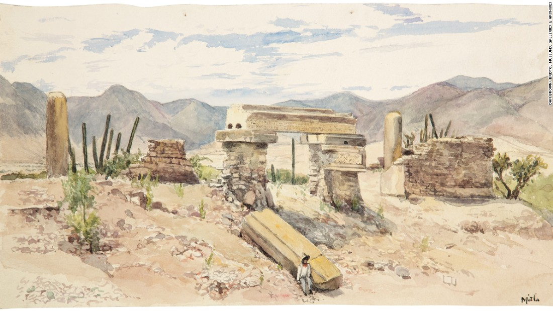 British archeologist Adela Breton painstakingly painted various ruins in Mexico, including these Mitla, Oaxaca. Created long before the advent of color photography, her paintings are some of the only records of the specific color elements of these sites, which have since faded away.