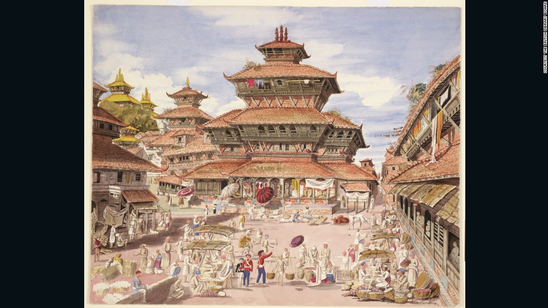 Henry Oldfield, a British surgeon, traveled to Asia as part of the Indian Army Medical Service in 1846, and was dispatched to Kathmandu, Nepal. Here he captures both the eye-catching architecture and quotidian life outside the Dhunsar court of law in Kathmandu.