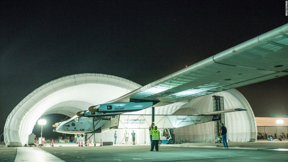 The plane stationed in China, ready to fly from Mandalay to Chongqing. It has a vast wingspan measuring 72 meters to reduce drag and a large surface area to hold enough solar cells.