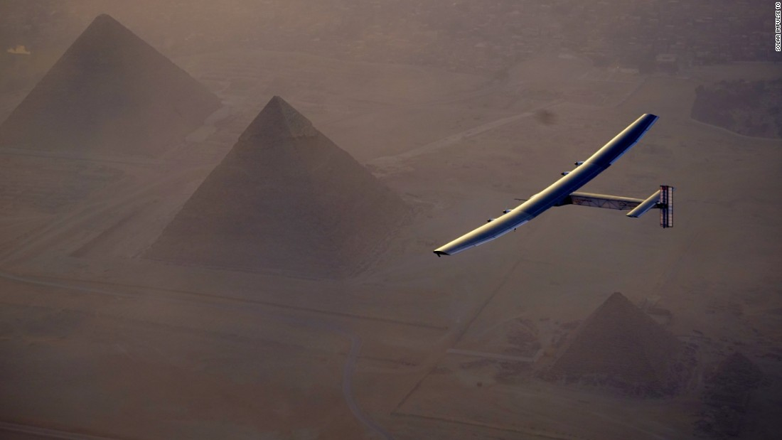 Just under two weeks away from completing the journey in Abu Dhabi, the plane is seen passing over the iconic pyramids in Egypt.