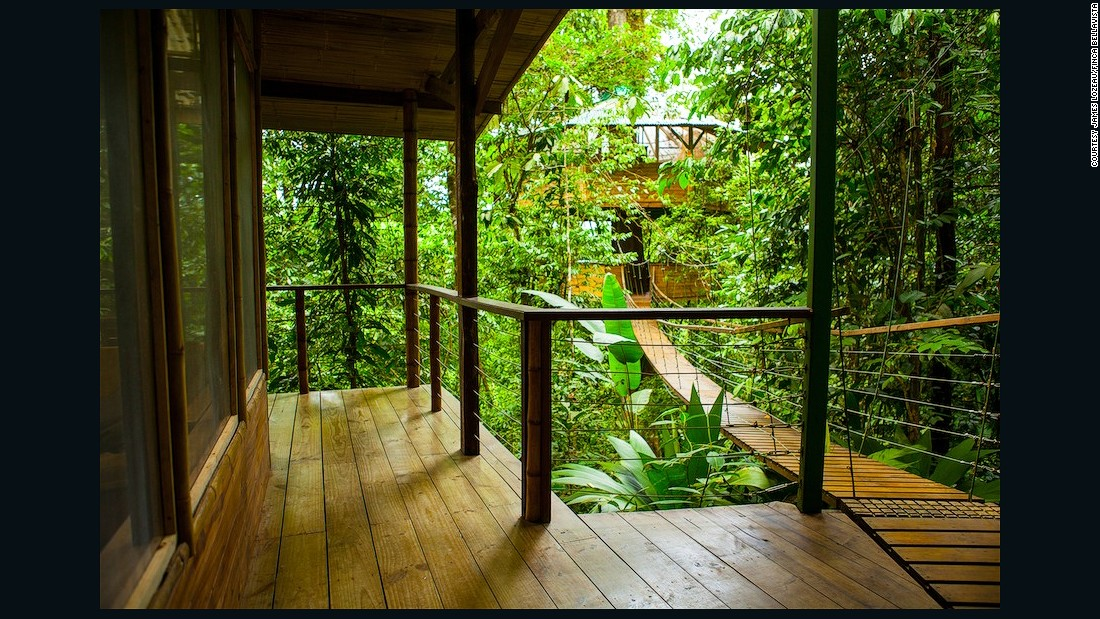 Treetop homes are constructed using bamboo and locally-grown teak, and for every tree that is cut down, many more are planted.