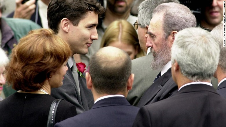 Fidel Castro greets Justin Trudeau at the former Canadian Prime Minister Pierre Trudeau's state funeral on October 3, 2000.