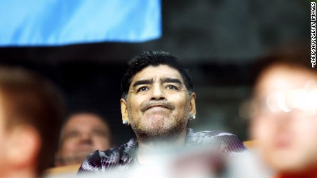 Retired Argentinian professional footballer Diego Armando Maradona reacts during the Davis Cup World Group final doubles match between Croatia and Argentina at Arena hall in Zagreb on November 26, 2016. / AFP / -        (Photo credit should read -/AFP/Getty Images)