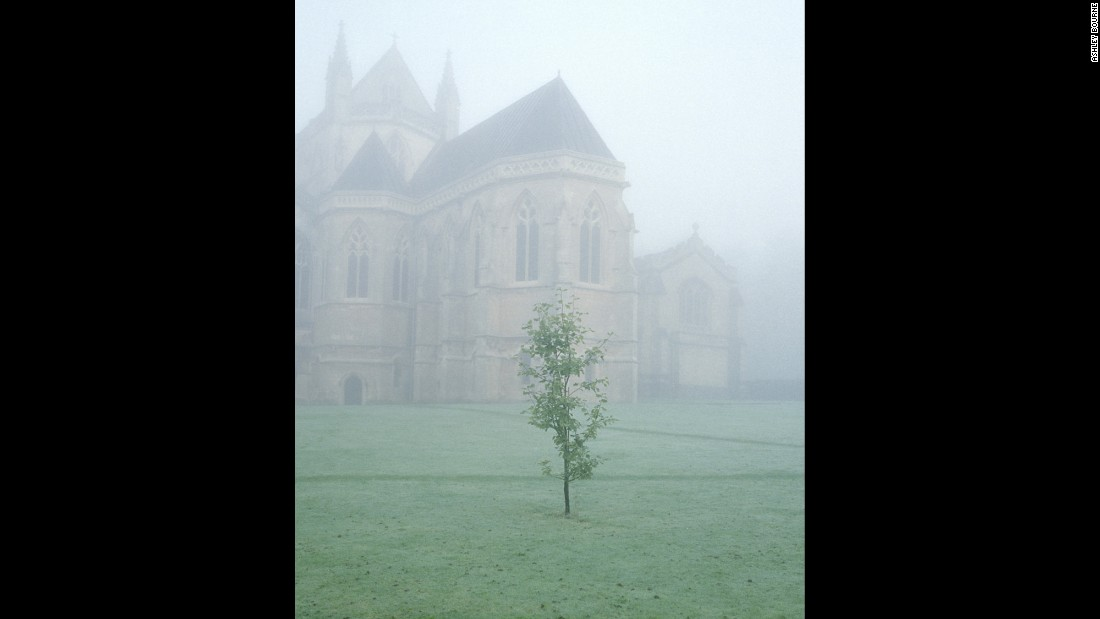 "A morning fog envelops Downside Abbey. ""I remember arriving at the monastery -- it was cold, foggy, getting dark and absolutely nobody was around,"" Bourne said. ""I walked around for about 20-30 minutes, trying to find somebody to point me in the right direction. There were many restricted doors and I didn't want to start my visit by being found somewhere I shouldn't. It was a little imposing."""