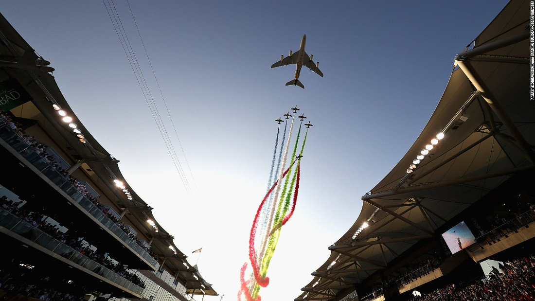 An air display over the grid before the Abu Dhabi Formula One Grand Prix at Yas Marina Circuit.