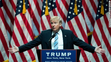 Republican presidential candidate Donald Trump speaks before introducing his newly selected vice presidential running mate Mike Pence, governor of Indiana, during an event at the Hilton Midtown Hotel, July 16, 2016 in New York City.