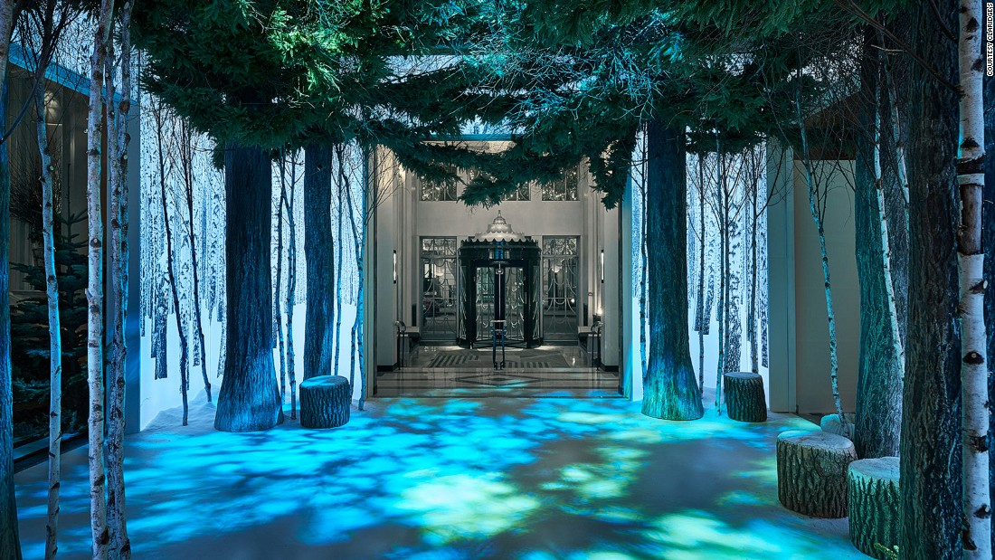 Striking holiday trimmings designed by Apple's Sir Jony Ive and Marc Newson invite holiday guests into Claridge's in London.