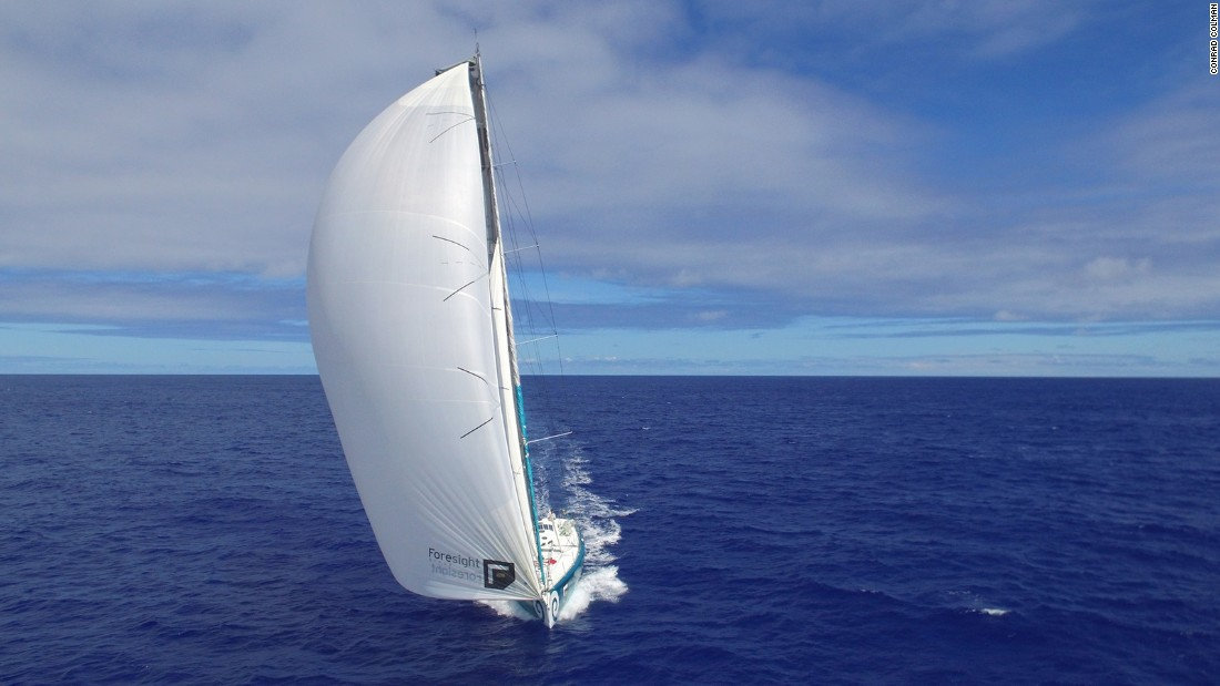 An image taken by drone shows Foresight Natural Energy, Conrad Colman's yacht in the Vendee Globe, carving through the South Atlantic in the direction of South Africa.