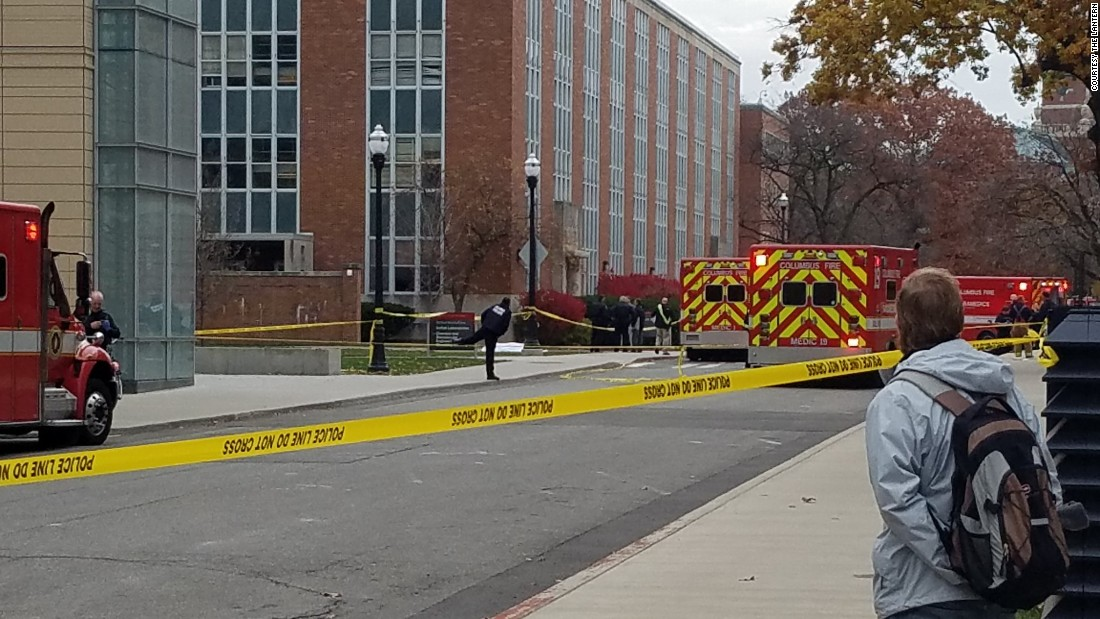 """There's at least one body bag present in front of Koffolt Labs,"" <a href=""https://twitter.com/TheLantern/status/803257861048598528"" target=""_blank"">The Lantern tweeted during the lockdown.</a> ""OSU police still advising to take shelter. Situation not under control."" The suspect in the Ohio State University attack rammed his car into a group of pedestrians before using a butcher knife to cut several people, OSU officials said. At least 11 people were hospitalized. The suspect was killed."