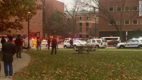Crowds and police vehicles gathered in response to reports of an active shooter on the Ohio State campus Monday morning.