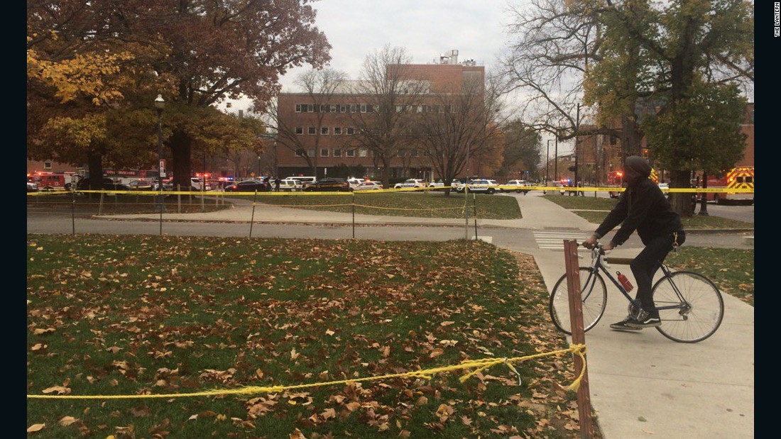 "The school's student newspaper, The Lantern, tweeted several photos on campus during the chaos, which was initially reported by university officials as an active shooter incident. It's possible the gunshots heard were those of police trying to stop the attacker, a federal law enforcement official said. ""Students/bystanders have been moved back from the scene toward Arps Hall,"" <a href=""https://twitter.com/TheLantern/status/803254752523980800"" target=""_blank"">The Lantern tweeted</a> with this photo of a bicyclist."