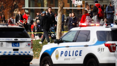 Students leave buildings surrounding Watts Hall as police respond to reports of a shooting on campus at Ohio State University, Monday, Nov. 28, 2016, in Columbus, Ohio. (AP Photo/John Minchillo)