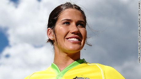 SYDNEY, AUSTRALIA - NOVEMBER 14:  Charlotte Caslick poses during the Australian Sevens Rugby Jersey launch at the Sydney Academy of Sport on November 14, 2016 in Sydney, Australia.  (Photo by Mark Metcalfe/Getty Images)