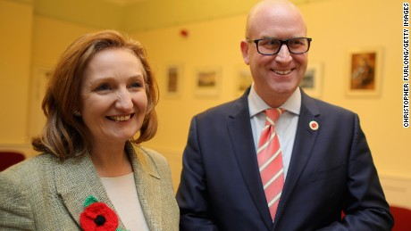 LEEDS, ENGLAND - NOVEMBER 08:  UKIP (UK Independence Party) leadership hopefuls Suzanne Evans and  Paul Nuttall share a joke before The UKIP leadership hustings at the Guisleley Theatre on November 8, 2016 in Leeds, England. Former deputy leader Paul Nuttall and former deputy chairman Suzanne Evans are vying for the leadership of UKIP.  The election was triggered after Diane James MEP resigned from the top job after just 18 days in the role.  (Photo by Christopher Furlong/Getty Images)