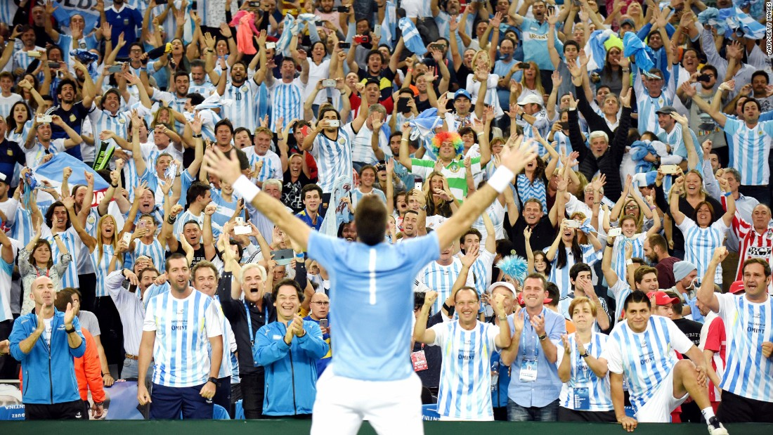 "Juan Martin del Potro celebrates with Argentina fans after storming back from two sets down to win his Davis Cup singles match against Croatia's Marin Cilic on Sunday, November 27. Federico Delbonis won his singles match later in the day to give Argentina <a href=""http://www.cnn.com/2016/11/27/tennis/davis-cup-tennis-argentina-croatia-sunday/"" target=""_blank"">its first-ever Davis Cup title.</a>"