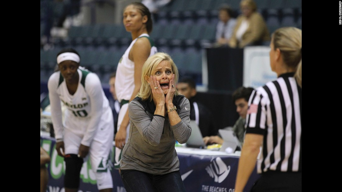 Baylor head coach Kim Mulkey reacts to a play against DePaul during the Gulf Coast Showcase, a basketball tournament in Estero, Florida, on Saturday, November 26. Baylor ended up winning the women's tournament.